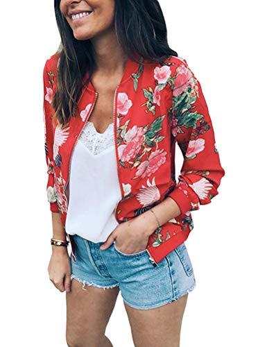 Autunno Alla Primavera Maniche Minetom Giacca Giacche E Lunghe Donne Fiore Stampato Colorato Corto Jacket Moda Rosso 01 Cappotto XqUUxwt