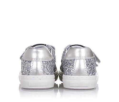 BALOCCHI - Silberner Schuh aus Glitzern und Leder, aus hochwertigen natürlichen Materialien, mit Klettverschluss, Mädchen