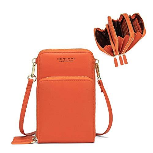 Fangoo Frauen Kleine Handy Crossbody Geldbörse Brieftasche Mini Leichte Leder Cross Body Handytasche mit Gurt Kartenfächer(Orange)