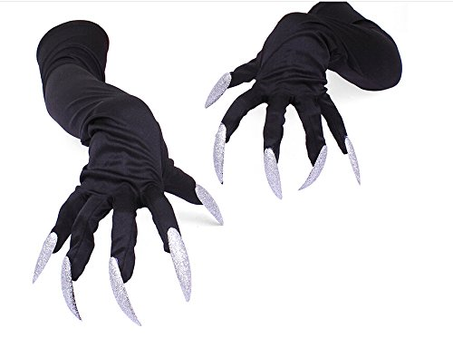 StMelody 1 Pair Black Halloween Costume Costume Gloves Attached Long Fingernails