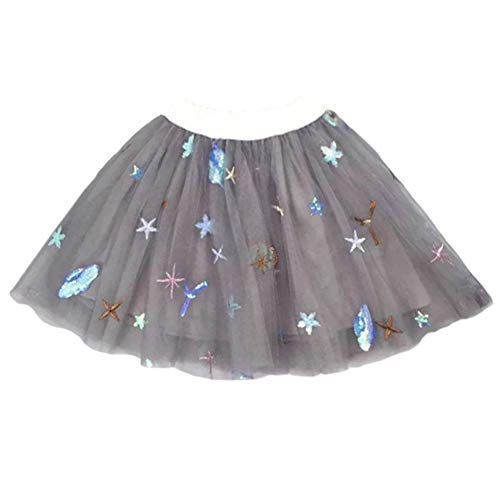 YOHA Baby Girls Tutu Dress Pom Pom Balls Soft Tulle Tutu Dress for Toddler Girls(Space Gray,120)