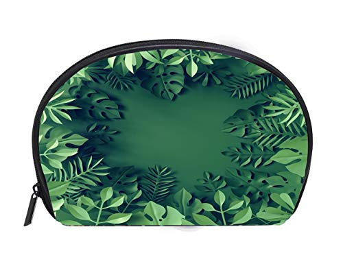 Half-moon Cosmetic Bag 3d render tropical paper leaves blue scene background jungle frame Ladies Travel Convenience Small Wash Bag Storage ()