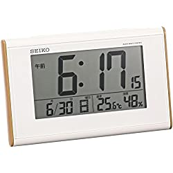 SEIKO CLOCK ( Seiko clock ) woodgrain high viewing angle radio digital alarm clock ( white ) SQ771B