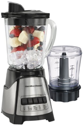 Hamilton Beach Power Elite Multi-Function 40 Oz Glass Jar Blender with 3 Cup Chopper Attachment (58149),