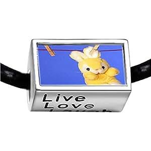 Chicforest Silver Plated Clothesline Bunny Rabbit Photo Live Love Laugh Charm Beads Fits Pandora Bracelet