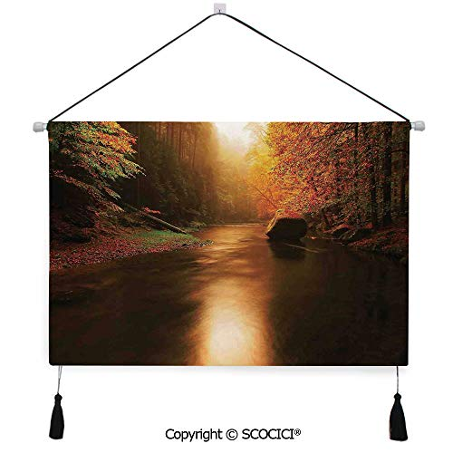 (SCOCICI Durable Material Multipurpose W24xL17inch Wall Hanging Tapestry Calm Serene Autumn Forest with Flowing River Sunlight Pine and Oak Trees Branches Decorative Painting Living Room Painting Fabr)