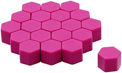 ホイールナットカバー ホイールナットキャップ 19HEX シリコン製 20個 パープル 紫 汎用 ヘキサゴン_45410
