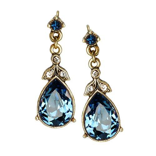 Sweet Romance Crystal Pear Vintage Victorian Wedding Teardrop Earrings E1180 (Sapphire Blue (Swarovski Dark Sapphire)