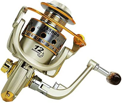 Xhtoe Spinning Carretes 1000-7000 Serie Carrete de la Pesca 12 Eje Mango de Madera Metal