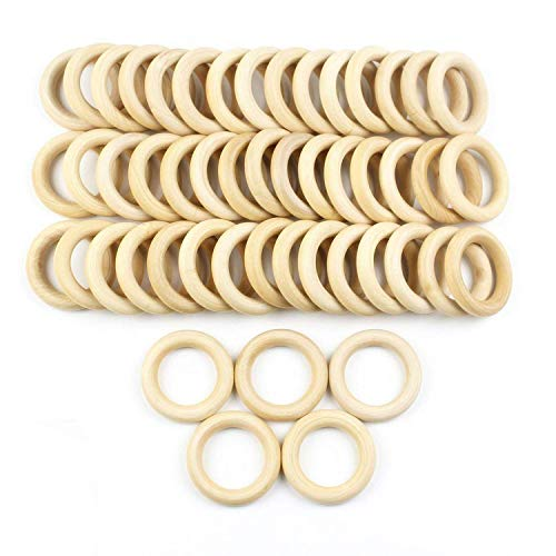 """JPSOR 50 Pcs 2.2"""" Natural Wood Rings Circles Unfinished Wood for DIY Pendant Connectors Jewelry Making"""