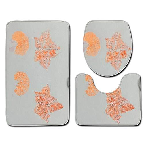 Bailunder 3 Piece Bathroom Mat Set, Maple Leaf Art Painting Extra Soft Non-Slip Bath Mat Combo, Skidproof Toilet Seat Cover Bath Mat Lid Cover