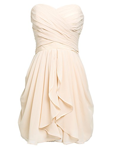 Sarahbrida Juniors Prom Dresses Strapless Chiffon Short Bridesmaid Party Gowns Pleats Champagne US6