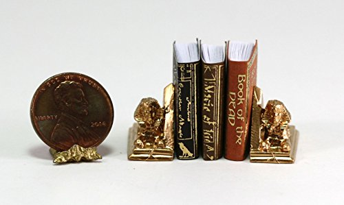 Dollhouse Miniature 1:12 Gold Sphinx Bookends with Egyptian (Egyptian Sphinx Miniature)