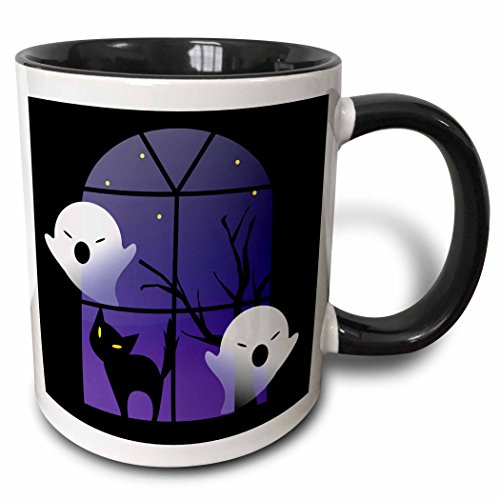 3dRose 200323_4 Halloween Ghosts And Cat In House Two Tone Black Mug 11 -