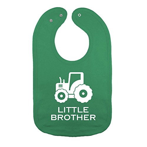 We Match! Unisex-Baby -Little Brother Farm Tractor Thick PREMIUM 2-Ply Cotton Baby Bib With Snaps (Kelly) (Green Tractor Little)
