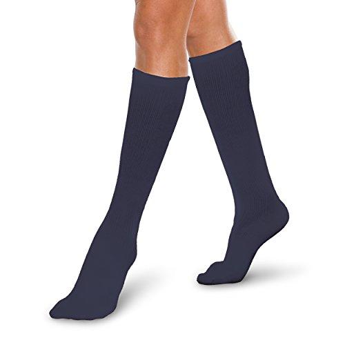 Price comparison product image Therafirm Core-Spun Mild (15-20mmHg) Graduated Compression Support Knee High Socks (Navy, Medium)