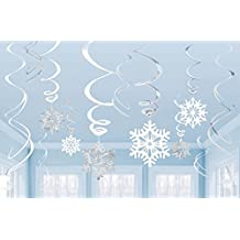 Amscan Winter Wonderland Christmas Party Hanging Snowflakes & Swirl Decorations Value Bundle, White/Silver
