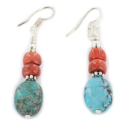 Native-Bay Authentic Made by Charlene Little Silver Hooks Dangle Natural Turquoise Coral American Earrings