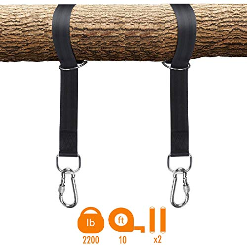LUZHIAMA 2pcs Tree Swing Straps Hanging Kit,Swing Strap for Tree Limbs,Two 10ft Straps, Holds 2000 lbs,Fast & Easy Way to Hang Any Swing - Outdoor Swing Hangers- Infant Outdoor Swings