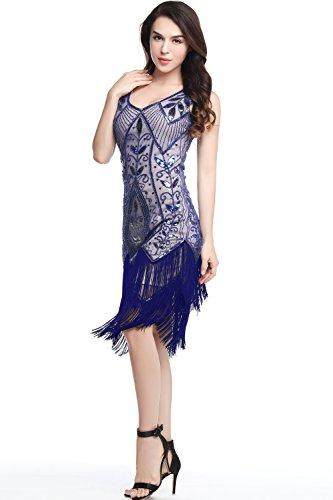 Flecos de Azul con Vintage Vestido 20 Vestido Vestido Lentejuelas Noche ArtiDeco Años Gatsby Disfaz de los Flapper Estilo ZxwqUA8F