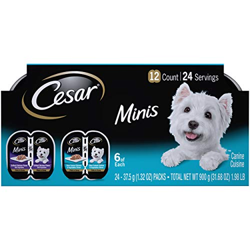 CESAR Minis Wet Dog Food Filets in Gravy Variety Pack, Grilled Chicken Flavor With Vegetables and Slow Cooked Chicken & Vegetables Dinner, (12) 2.64 oz. Easy Peel Twin Pack Trays