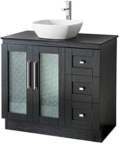 36 Bathroom Solid Wood Vanity Cabinet Black Granite Top Vessel Sink B3621WL-BK
