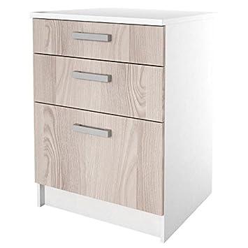 start meuble bas de cuisine avec plan de travail l 60 cm dcor frene sabl - Meuble De Cuisine Bas Avec Plan De Travail