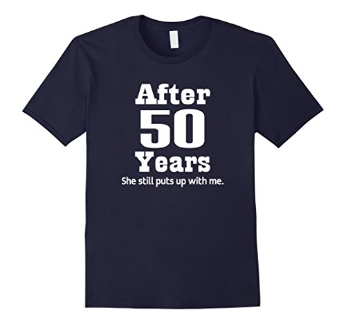 Mens 50th Anniversary T-shirt Funny Mens Party Photo Tee Large Navy