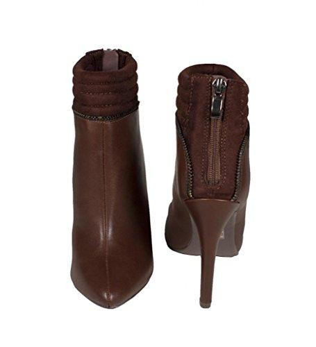 Vœu! Chaussure Pointue Classique À Talons Hauts Pour Femme En Cuir Nubuck Marron