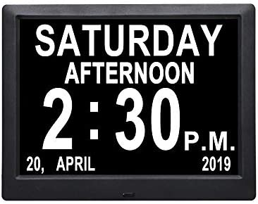 Remote Control Digital Calendar Day Clock 9 inch Non-Abbreviated Day Month Dementia Electronic Wall Desk Shelf Clcoks for Senior Elderly Vision Impaired Memory Loss Alzheimers