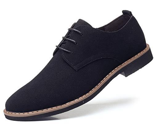 DADAWEN Men's Suede Dress Shoes Casual Lace Up Oxfords Shoes Black US Size 8