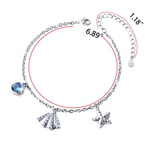 SILVER MOUNTAIN S925 Sterling Silver Starfish and Seashell Summer Adjustable Bracelet by SILVER MOUNTAIN