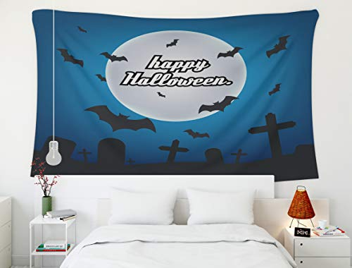 (Shorping 60x50Inches Home Art of Cotton Tapestries Hanging Wall Tapestry,for Décor Living Room Dorm Halloween Trick Treat Card Template Night Moon Greeting Decoration Concept Magic Holiday)