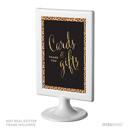 Andaz Press Birthday Framed Party Sign, Double-Sided 4x6-Inch, Cards & Gifts, Leopard Cheetah Print with Faux Gold Glitter, 1-Pack, Includes Frame ()