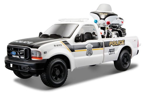 1999 Ford F-350 Super Duty Pickup Truck 1/27 and 1/24 2004 Harley Davidson FLHTPI Electra Glide Motorcycle Police by Maisto 32186