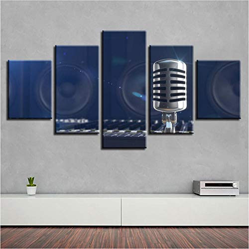 YANGSHUANG Wall Art Poster Modern Home Decor 5 Pieces Microphone Canvas Printed Frame Painting Modular Musical…