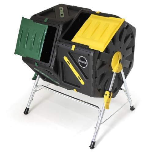 Rabinyod Bulan Large Compost Tumbler Dual Chamber Tumbling Composter Bin Garden Barrel Turner
