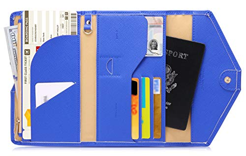 - Zoppen Mulit-purpose Rfid Blocking Travel Passport Wallet (Ver.4) Trifold Document Organizer Holder, Dazzle Blue