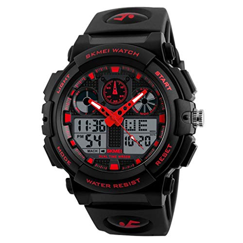 IslandseSKMEI Men LED Large Dial Digital Watch Waterproof Alarm Calendar Sport Watch (Red) (Watch Swatch Led Women)