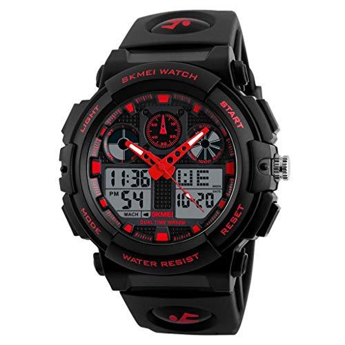 IslandseSKMEI Men LED Large Dial Digital Watch Waterproof Alarm Calendar Sport Watch (Red)