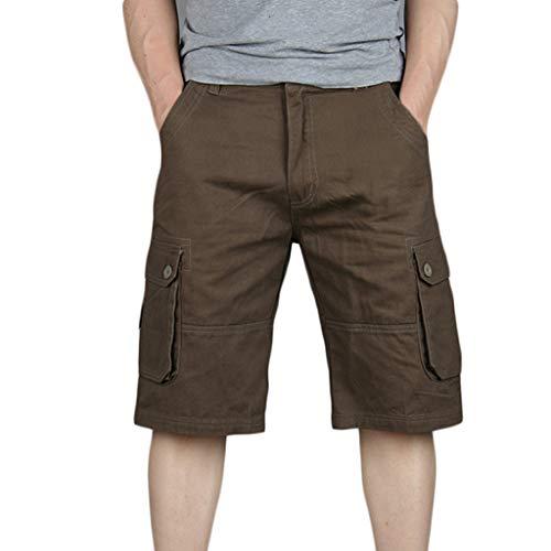 ZEFOTIM Casual Shorts for Men's Cotton Multi-Pocket Overalls Shorts Fashion Pant(Coffee,38)