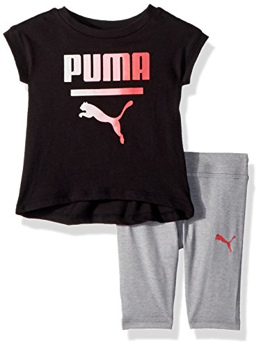 PUMA Baby Girls 2 Piece Jersey Tee and Capri Set, Black, 0-3 - Piece Baby 10