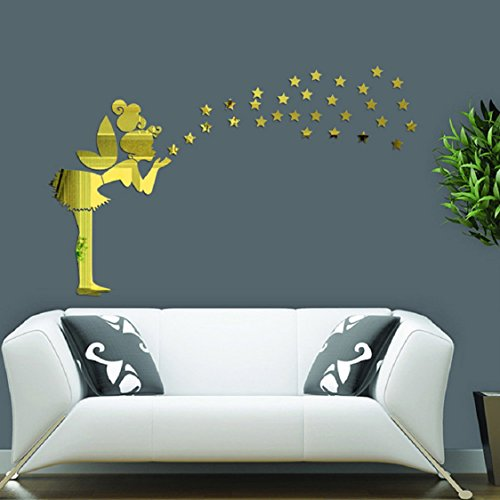 Ikevan 1Set Acrylic Art Angel Magic Fairy Stars 3D Mirror Wall Stickers DIY Home Wall Room Decals Decor Sofa TV Setting Wall Removable Wall Stickers 43X30cm (Gold)