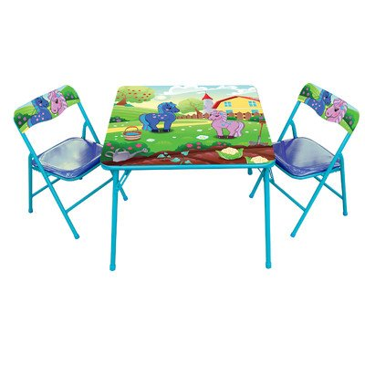 Pony Kids' 3 Piece Square Table and Chair Set]()