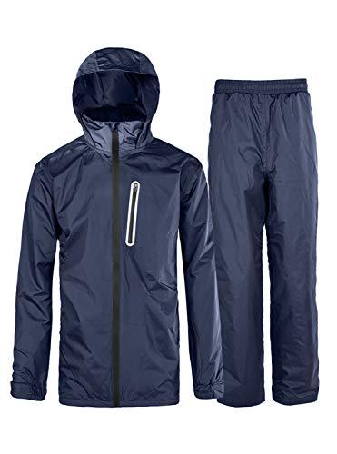 ZITY Rain Jackets for Men/Mens Waterproof Rainsuit with Hood Navy Large