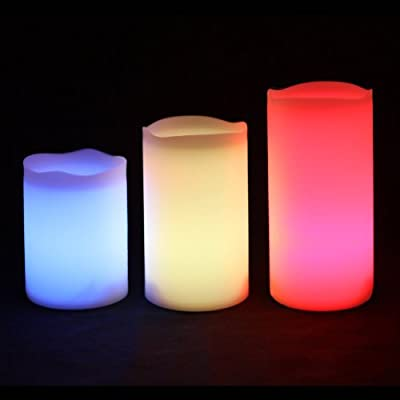 Fun Candles - ICS - 3 Weatherproof Outdoor and Indoor Color Changing LED Glowing Candles with Remote Control & Timer