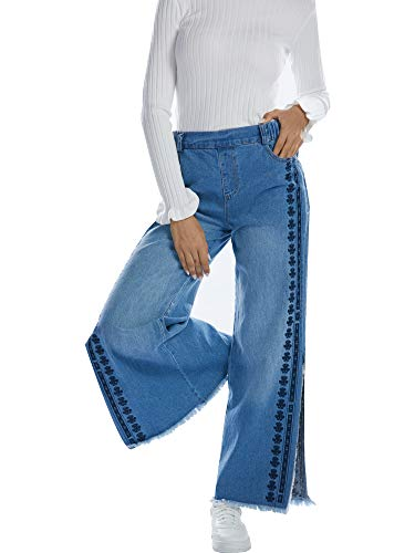 (BARGOOS Women Washed Blue Embroidered Wide Leg Jeans Palazzo Denim Pants with Elastic Waist)