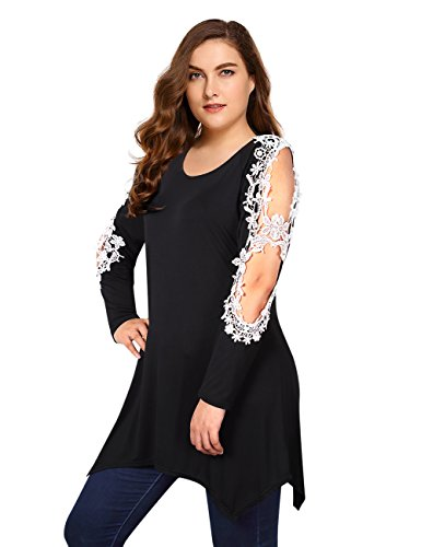 AMZ PLUS Asymmetric Hem Crochet Lace Tunic Blouse Plus Size Womens Long Sleeve Tops