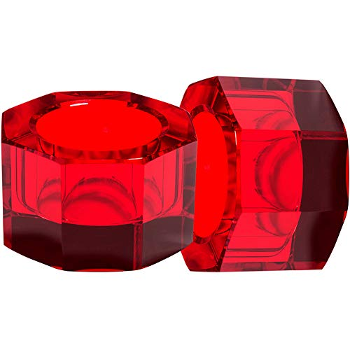 DONOUCLS Red Crystal Tealight Holder Candlestick Christmas Decorations for Home Party Dinner Hand-Cut 2.5