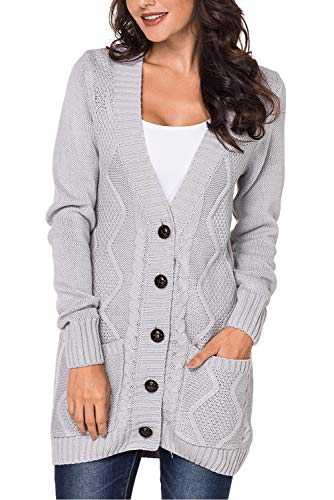Uniarmoire Women Long Sleeve Pocket Knit Cardigans Button Cable Sweater Coat Grey L